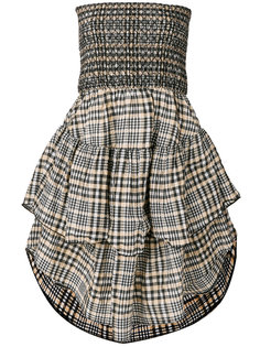 расклешенное платье в клетку  Ganni