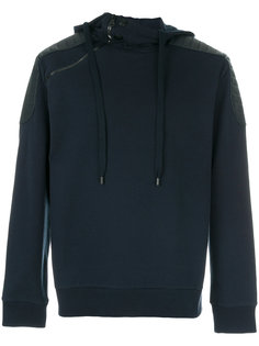 leather shoulder patch hoodie Pierre Balmain