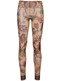 леггинсы с принтом татуировок  Dsquared2