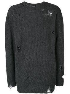 удлиненный ребристый трикотажный свитер с эффектом потертости Diesel