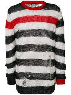 полосатый свитер с эффектом потертости Diesel