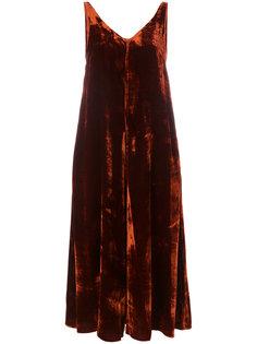 бархатное платье с V-образным вырезом  Roberto Collina