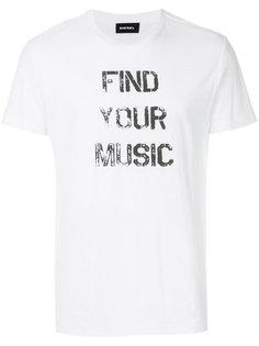 футболка с принтом слогана Diesel