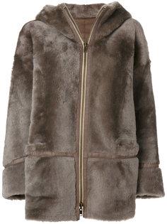 пальто с меховой отделкой и капюшоном  Sylvie Schimmel