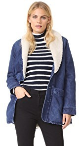 Rollas Denim Pea Coat with Sherpa Lining