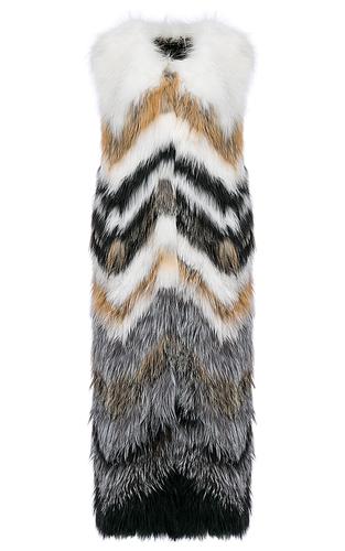 Длинный жилет из вязаного меха лисы