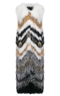 Длинный жилет из вязаного меха лисы Fellicci