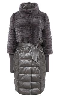 Утепленное кожаное пальто с отделкой мехом норки La Reine Blanche