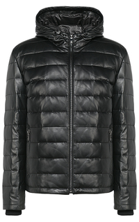 Зимняя кожаная куртка-бомбер с капюшоном Jorg Weber