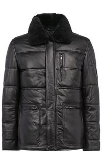 Утепленная кожаная куртка с отделкой овчиной Jorg Weber