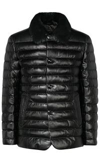 Зимняя кожаная куртка с отделкой мехом бобра Al Franco