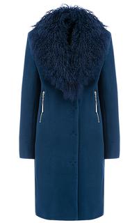 Шерстяное пальто с отделкой мехом ламы Elema