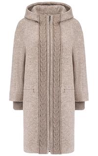 Полушерстяное пальто с трикотажной отделкой Elema