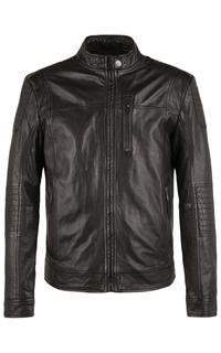 Утепленная кожаная куртка на молнии Jorg Weber