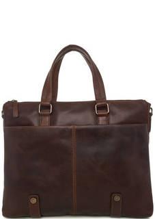 Коричневая кожаная сумка со съемным ремнем Gianni Conti