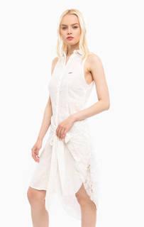 Белое платье на пуговицах с кружевной нашивкой MET