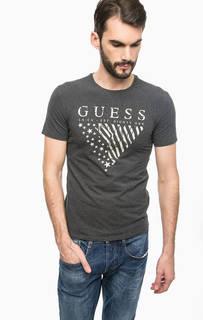 Серая хлопковая футболка Guess