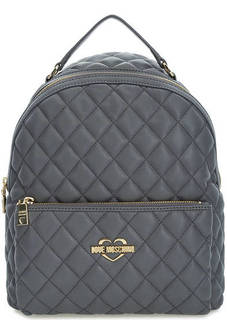 Серый стеганый рюкзак Love Moschino