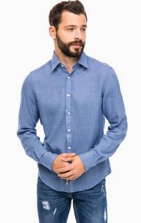 Приталенная синяя рубашка из хлопка Alcott