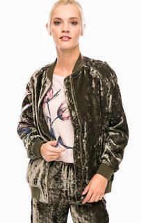 Бархатная куртка-бомбер с вышивкой Pepe Jeans