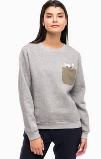 Серый хлопковый свитшот с вышивкой Paul & Joe Sister