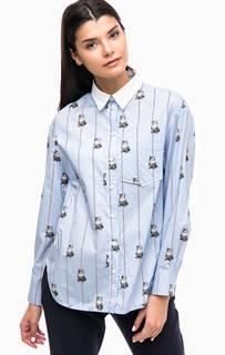 Хлопковая рубашка в полоску с принтом Paul & Joe Sister