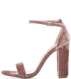 Бархатные босоножки на устойчивом каблуке Steve Madden
