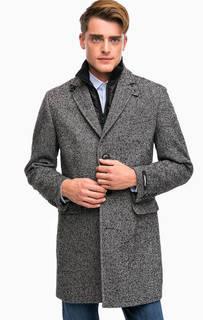 Серое повседневное пальто из шерсти Lagerfeld