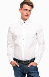 Белая хлопковая рубашка на кнопках Lagerfeld