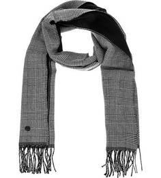 Черно-белый шарф из шерсти в клетку Lagerfeld