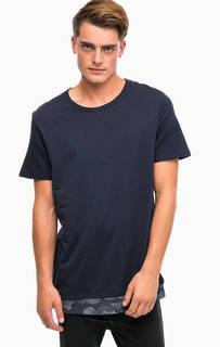 Синяя хлопковая футболка Jack & Jones