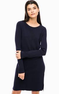 Синее трикотажное платье с длинными рукавами Marc Opolo