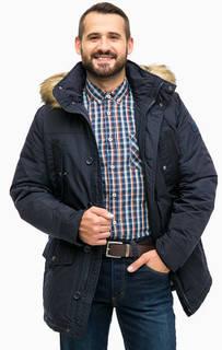 Синяя зимняя куртка с капюшоном Mustang