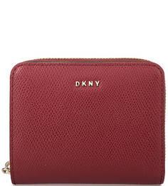 Бордовый кошелек из натуральной кожи Dkny