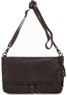 Коричневая кожаная сумка на молнии Aunts & Uncles