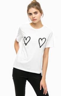 Хлопковая футболка с контрастным принтом Cheap Monday