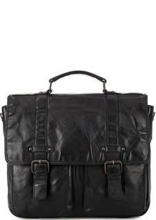 Черный кожаный портфель с двумя отделами Gianni Conti