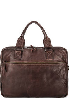 Коричневая кожаная сумка со съемным плечевым ремнем Gianni Conti