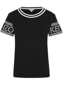 Хлопковая футболка с декорированными рукавами Kenzo