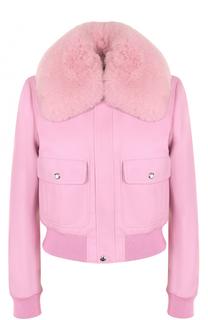 Кожаная куртка на молнии с воротником из меха лисы Givenchy