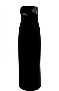 Бархатное платье-макси с высоким разрезом Lanvin