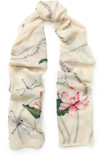 Шелковый шарф с вышивкой Alexander McQueen
