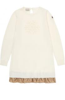 Вязаное мини-платье с принтом и оборкой Moncler Enfant