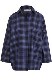 Хлопковая блуза свободного кроя в клетку Vince