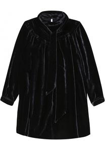 Бархатное мини-платье свободного кроя с воротником аскот Ermanno Scervino