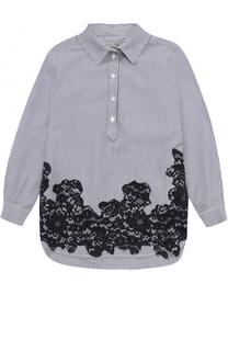 Хлопковая блуза в полоску с кружевной отделкой Ermanno Scervino