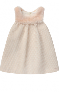 Платье с завышенной талией и отделкой из эко-меха Chloé
