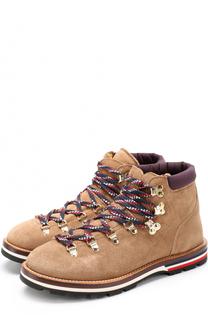 Замшевые ботинки на контрастной шнуровке Moncler