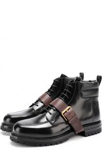 Высокие кожаные ботинки на шнуровке с декоративным ремешком Valentino