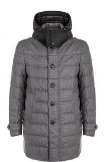 Шерстяное пуховое пальто на молнии с капюшоном Moncler